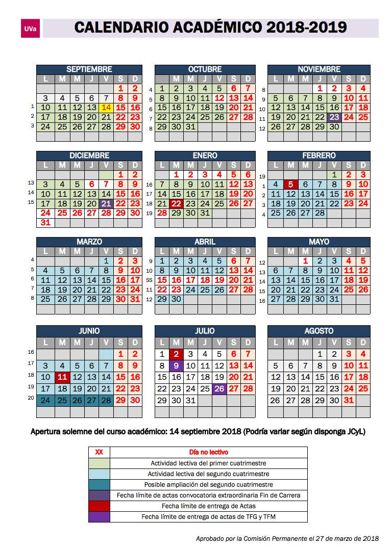 Calendario Escolar Valladolid.Calendario Academico 2018 2019 Facultad De Educacion De Soria